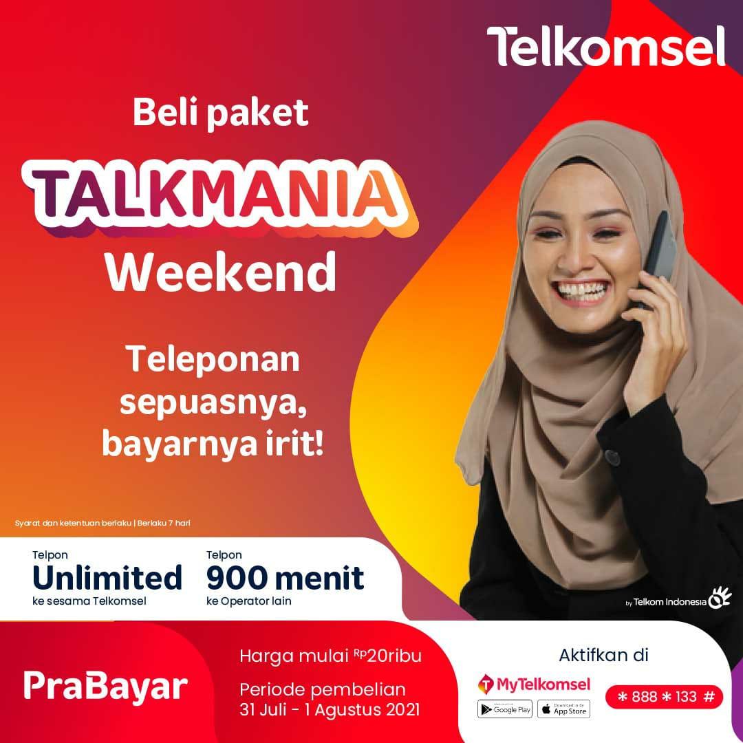 Telponan sepuasnya, tetap irit dengan paket Talkmania Weekend dari Telkomsel!