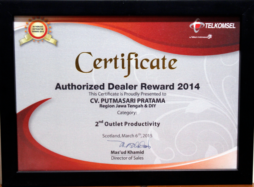 Autorized Dealer Reward 2014
